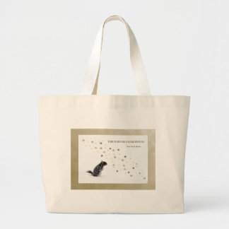 Squirrel in the snow large tote bag