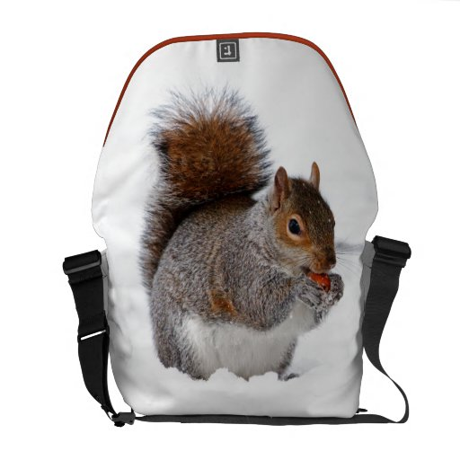 Squirrel in the Snow Messenger Bag
