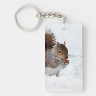 Squirrel in the Winter Rectangular Acrylic Key Chain