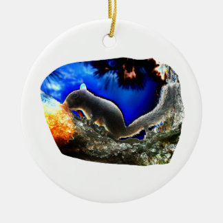 Squirrel In tree Pop Art Style Christmas Ornament