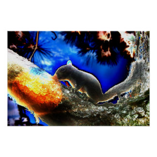 Squirrel In tree Pop Art Style Print