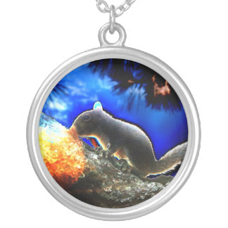 Squirrel In tree Pop Art Style Round Pendant Necklace