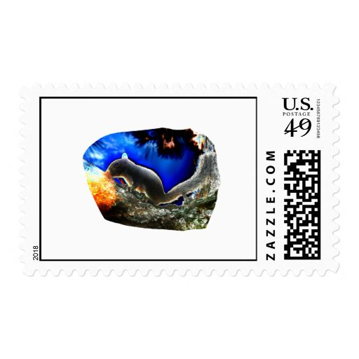 Squirrel In tree Pop Art Style Stamp