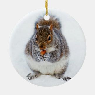 Squirrel in Winter Ceramic Ornament