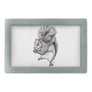 Squirrel Ink Illustration on Belt Buckle