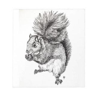 Squirrel Ink Illustration on Notepad