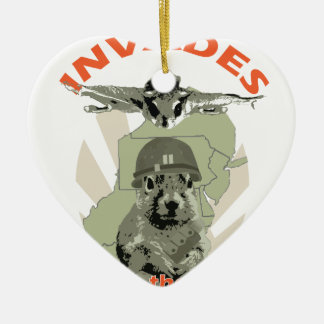 Squirrel Invades Mid Atlantic orange lettering Double-Sided Heart Ceramic Christmas Ornament