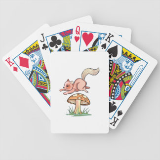 Squirrel Jumping Mushroom Bicycle Playing Cards