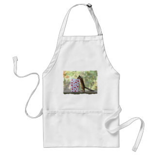 Squirrel Looking Inside Heart Box Adult Apron