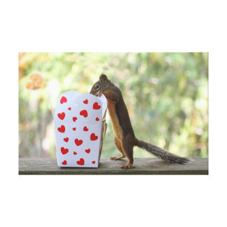 Squirrel Looking Inside Heart Box Gallery Wrap Canvas