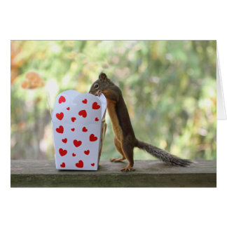 Squirrel Looking Inside Heart Box Card