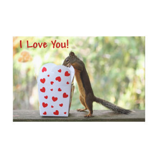 "Squirrel Looking Inside Heart Box, ""I Love You"" Gallery Wrapped Canvas"