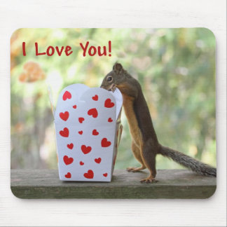 """Squirrel Looking Inside Heart Box, """"I Love You"""" Mousepads"""