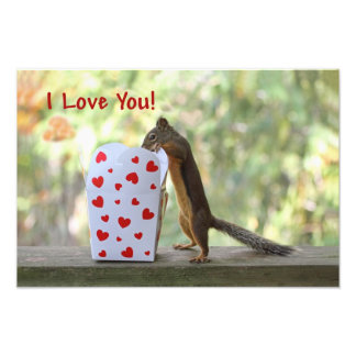 """Squirrel Looking Inside Heart Box, """"I Love You"""" Photo Print"""