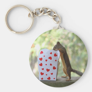 Squirrel Looking Inside Heart Box Key Chains