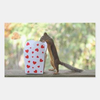 Squirrel Looking Inside Heart Box Rectangular Sticker
