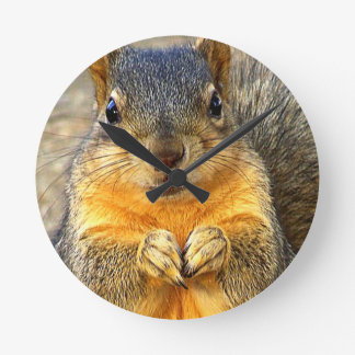 Squirrel Love_ Round Clock