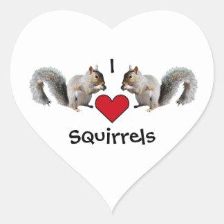 Squirrel Love Heart Sticker