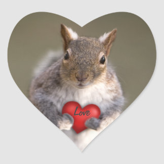 Squirrel Lover Heart Stickers