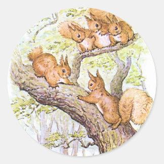 Squirrel Meeting Classic Round Sticker