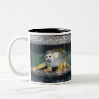 Squirrel Monkey Crouching Two-Tone Coffee Mug