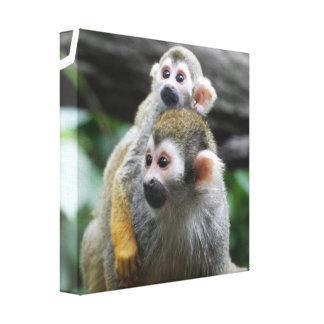 Squirrel Monkey Family Canvas Print