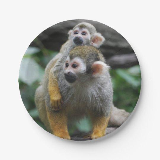 Squirrel Monkey Paper Plate