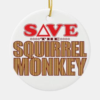 Squirrel Monkey Save Ceramic Ornament