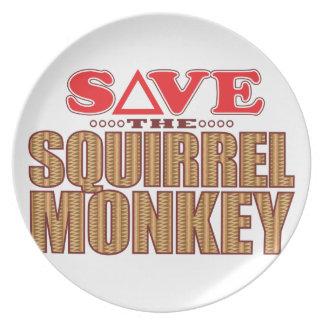 Squirrel Monkey Save Melamine Plate