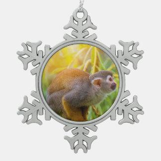Squirrel Monkey Snowflake Pewter Christmas Ornament
