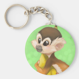 Squirrel Monkey with Banana Key Chain
