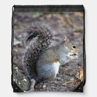 Squirrel Munching on an Acorn Drawstring Bag