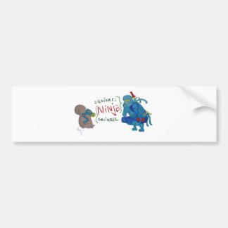 Squirrel Ninja / Ninja Squirrel Cartoon Bumper Sticker