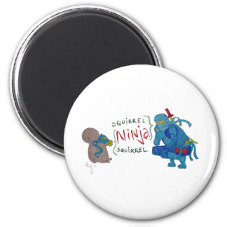 Squirrel Ninja / Ninja Squirrel Cartoon Magnet