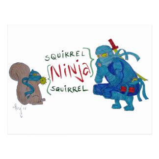 Squirrel Ninja / Ninja Squirrel Cartoon Postcards