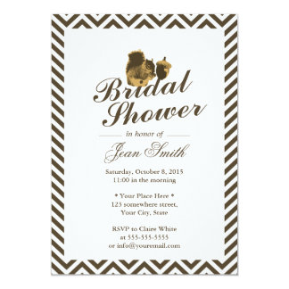 Squirrel & Nut Chevron Stripes Bridal Shower Card