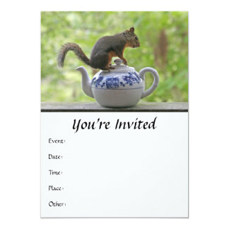 Squirrel on a Teapot 5x7 Paper Invitation Card