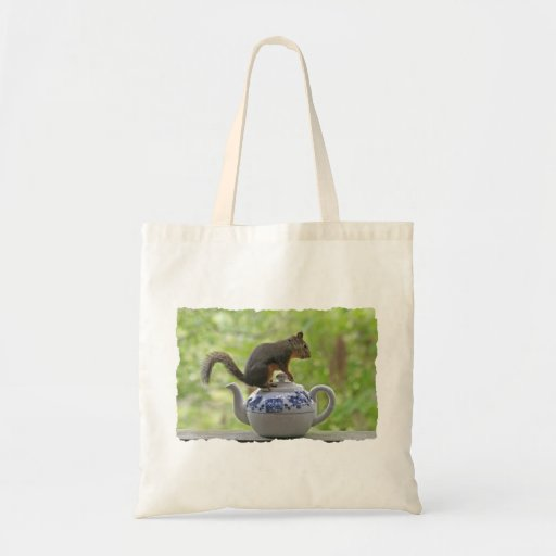 Squirrel on a Teapot Budget Tote Bag