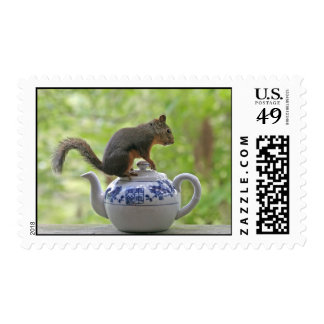 Squirrel on a Teapot Postage Stamps