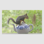 Squirrel on a Teapot Rectangle Sticker