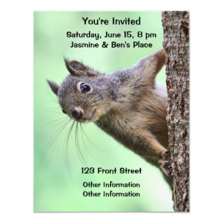 Squirrel On a Tree 4.25x5.5 Paper Invitation Card
