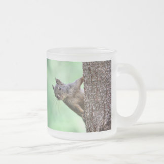 Squirrel On a Tree 10 Oz Frosted Glass Coffee Mug