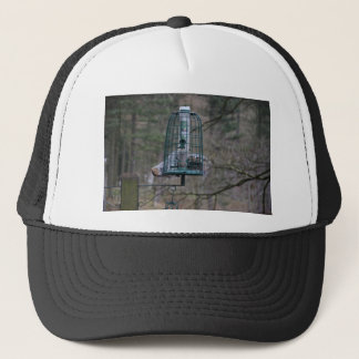 Squirrel on bird feeder trucker hat