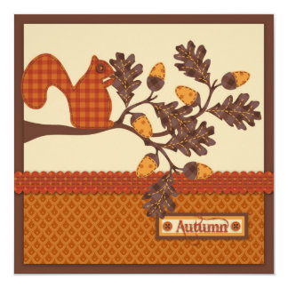 Squirrel on Branch Applique-look Thanksgiving Card