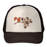 Squirrel on Branch Applique-look Thanksgiving Trucker Hats