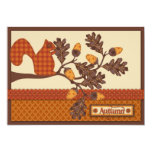 Squirrel on Branch Applique-look Thanksgiving Invitation