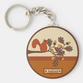 Squirrel on Branch Applique-look Thanksgiving Keychain
