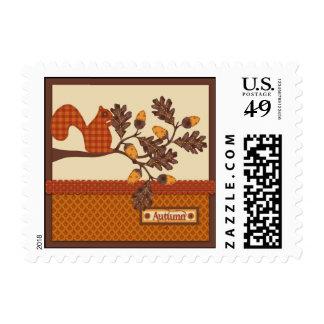 Squirrel on Branch Applique-look Thanksgiving Postage Stamp