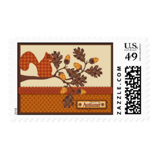 Squirrel on Branch Applique-look Thanksgiving Stamp