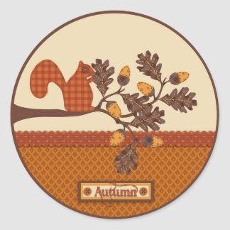 Squirrel on Branch Applique-look Thanksgiving Stickers